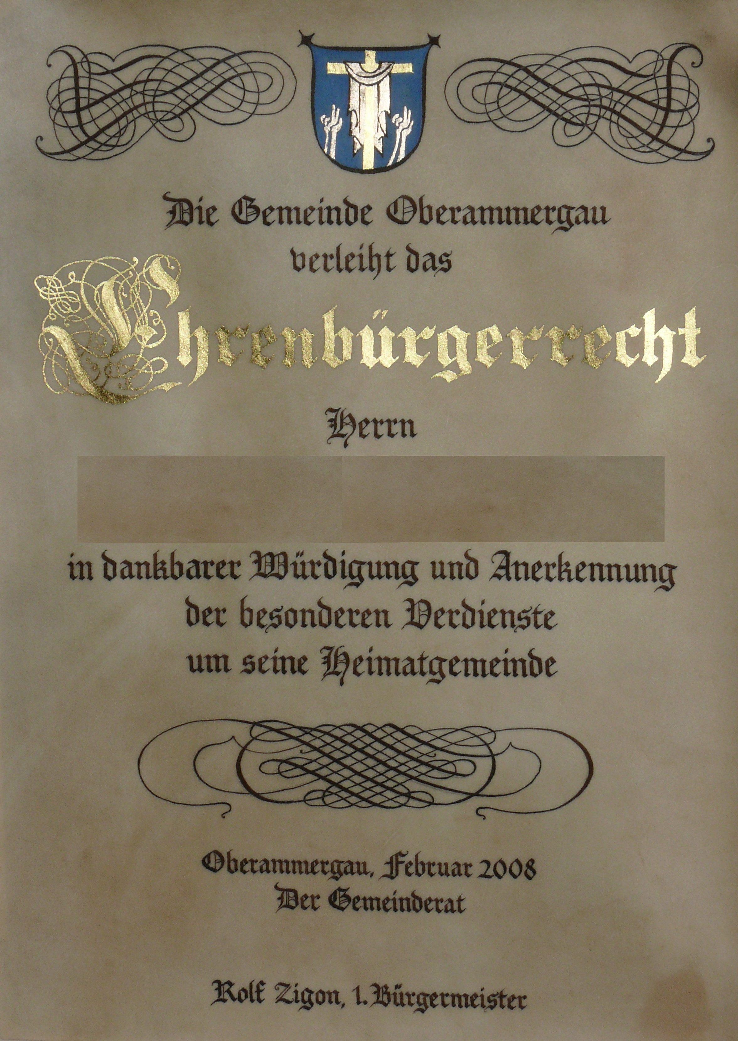 ehrenbürgerrecht oberammergau